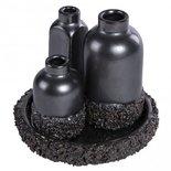PTMD - Subtile Petrol ceramic look 3 vases on plate s
