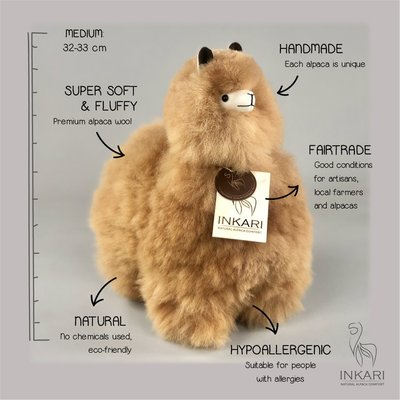 Inkari - Alpaca stuffed animal hazelnut M