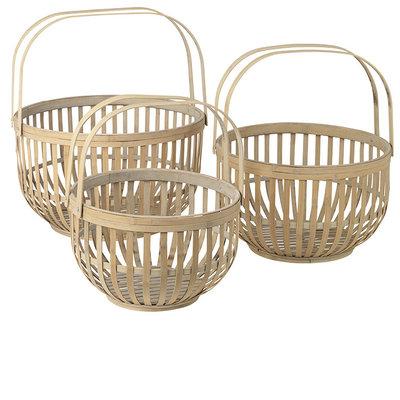 Broste Copenhagen - Basket w/handle Martin wood L