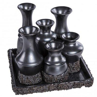 PTMD - Subtile Petrol ceramic look 6 vases on plate