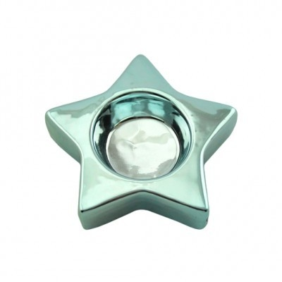 Casablanca - Theelicht ster glanzend licht blauw