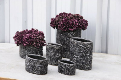 PTMD - Behuh dark grey ceramic Pot oval low m