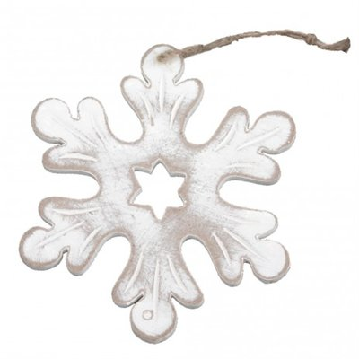 PTMD - xmas Frosty grey wooden hanger star