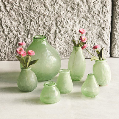 PTMD - Amora green Glass vase low