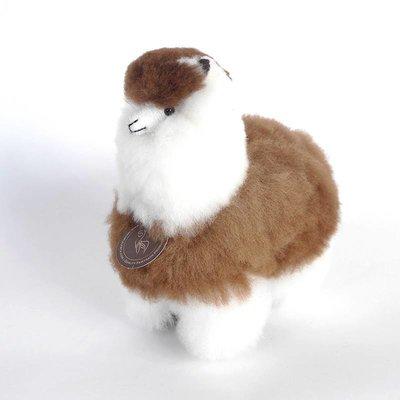 Inkari - Alpaca zachte knuffel Bruin / wit Small