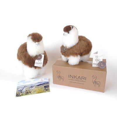 Inkari - Alpaca zachte knuffel Bruin / wit Medium