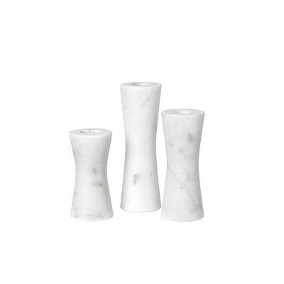 Broste Copenhagen - Candlestick set Saga Marble white