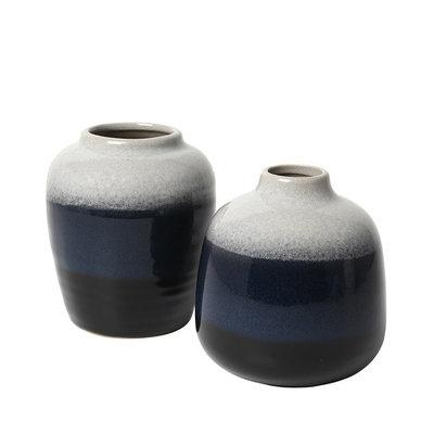 Broste Copenhagen - Vase Lau s/2 Insignia blue / black