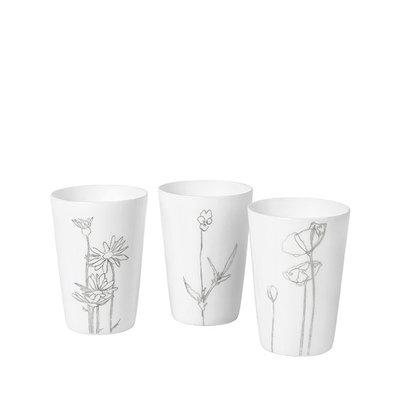 Broste Copenhagen - T-light holder Bloom s/3 white / silver