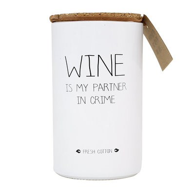 My flame - Soy candle Wine is my partner in crime Fresh cotton