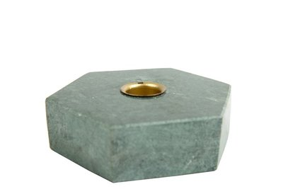 MrsBloom - Candle holder Collin Hexagon Green marble