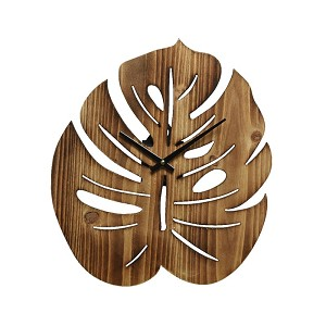 Clock monstera wood