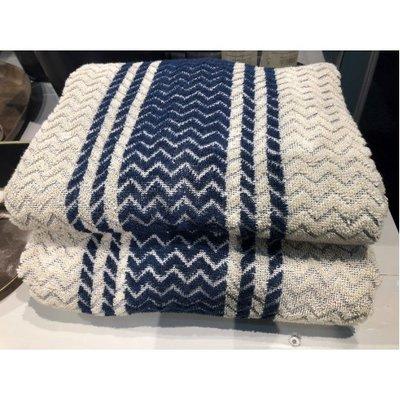 Mijn Stijl - Towel Creamy with dark blue stripe