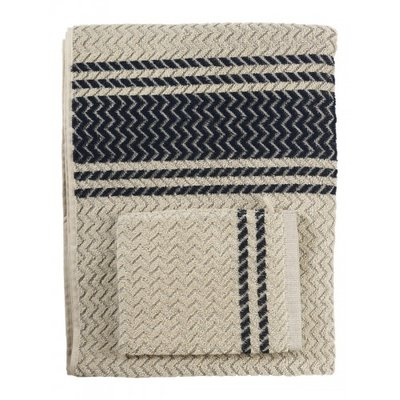 Mijn Stijl - Washcloth Creamy with dark blue stripe